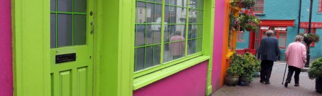 Bright Green & Pink Building in Kinsale, Ireland