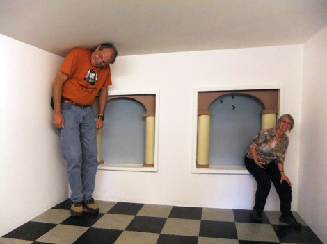 Putting people into perspective in the Escher Museum in Den Haag, Holland