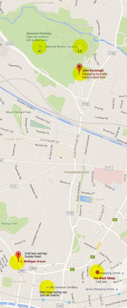 Dublin Botanical Garden Park & Cemetery Map with the Black Sheep Pub