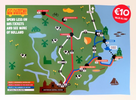 Bus routes map for a one day side trip