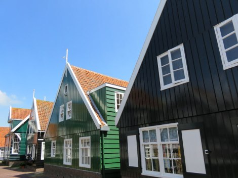 Typical painted wooden houses in Marken, Holland