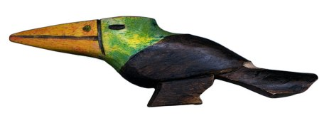 A carved wood toucan souvenir made by the Guarani indians, the indigenous people of the northeast of Argentina near Iguazu Falls
