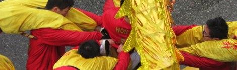 The Chinese New Year dragon dance acrobatics