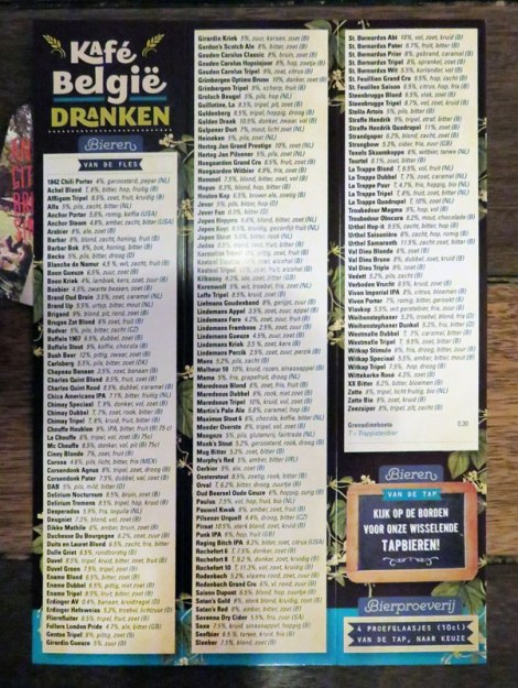 The extensive beer menu at the Café Belgie Pub in Utrecht, Holland