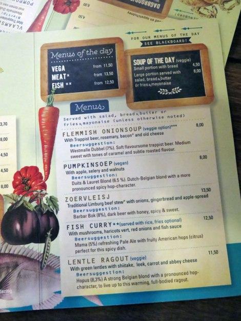 The food menu at the Café Belgie Pub in Utrecht, Holland