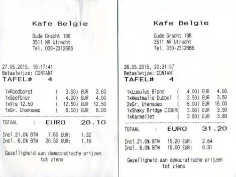Bar bills from the Café Belgie Pub in Utrecht, Holland
