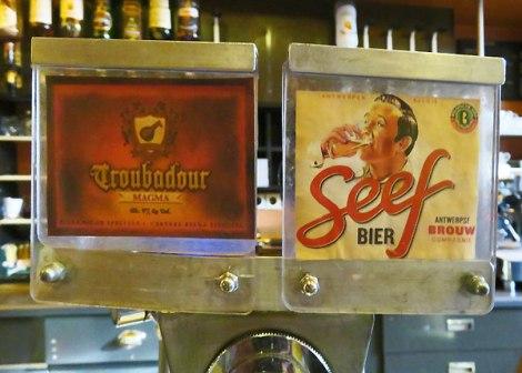 Beer taps at the Café Belgie Pub in Utrecht, Holland