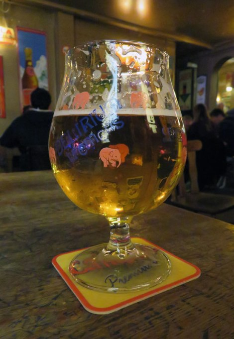 Having Delirium Tremens beer in the Delirium Tremens Café