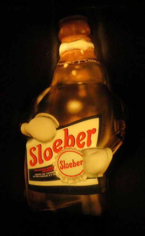 Sloeber Beer Sign in the Delirium Tremens Cafe Pub in Brussels, Belgium