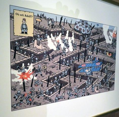 Where's Adolf? cartoon in the Belgian Comic Strip Centre in Brussels, Belgium