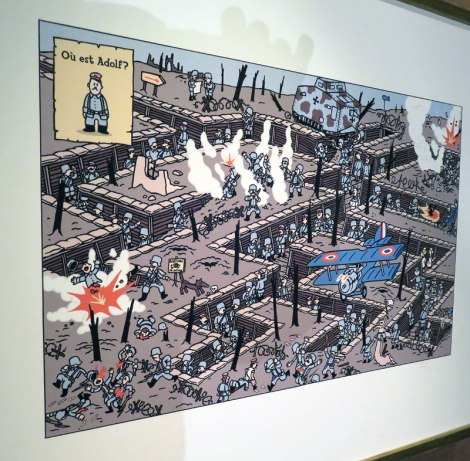 Where's Adolf? cartoon in the Belgian Comic Strip Centre in Brussels, Belgium