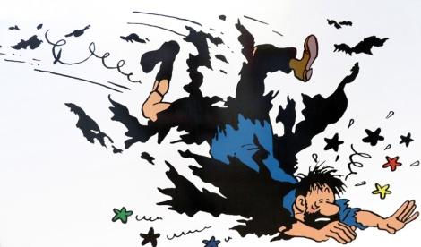 Artful falls in the Belgian Comic Strip Centre in Brussels, Belgium