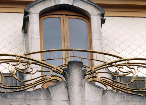 Art Nouveau Balcony in the Victor Horta House Museum in Brussels, Belgium