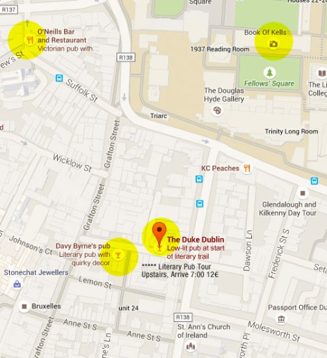 Dublin's Literary Pub Tour Map