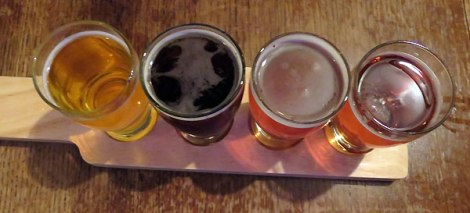 A flight of beer tasters at the Skagit River Brewery in Mt Vernon, Washington