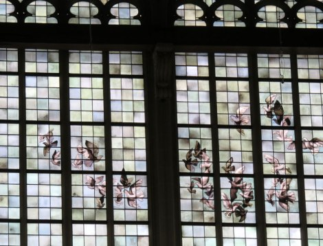 Stained-glass windows in the 'Nieuwe' Kerk (New Church) in Amsterdam, Holland