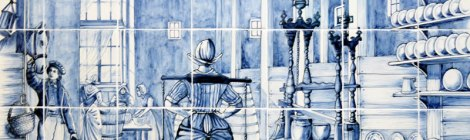 Delft Blue tiles tell a story about the production of cheese.