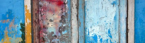 Blue Door Abstract at Inle Lake in Myanmar
