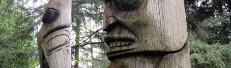 Wood totem poles at Van Dusen Gardens in Vancouver, Canada