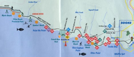 Map showing the West Coast Road near Sooke