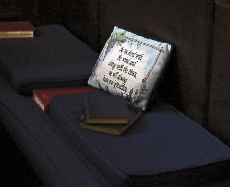 Belfast Culture Night concert in a church with personally stitched pillows in each pew