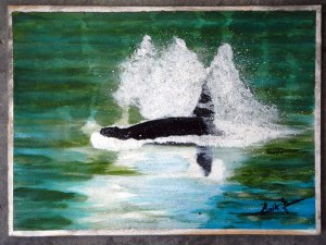 Dad's painting of a whale (acrylic)