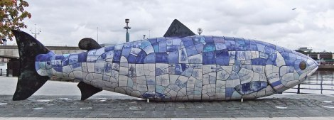 Belfast's 'Big Fish' , across the water from the Maritime Trail