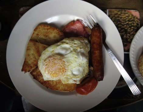 The full Irish breakfast consists of eggs, sausage, bacon, fried bread and a potato patty