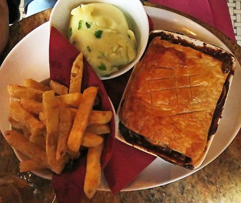The 'Pie of the Day' at The Garrick, a Belfast pub in Ireland, UK