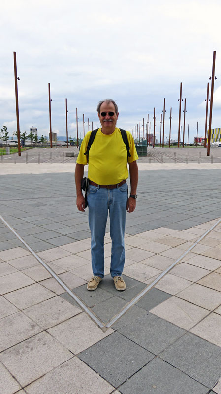 Al at the prow of the Titanic 'floor plan', just behind the Titanic Museum on Belfast's Maritime Trail