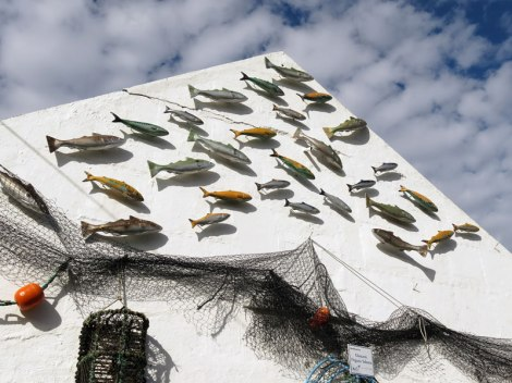 A wall decorated with fish in Carnlough, a small town on the Coastal Causeway route in Northern Ireland, UK