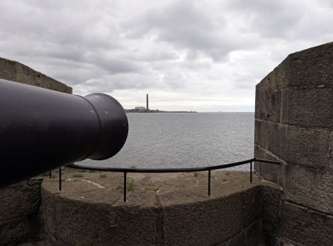 The canon of Carrickfergus, a castle on the Coastal Causeway route in Northern Ireland, UK