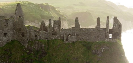 Dunluce Castle ruins in Northern Ireland, UK