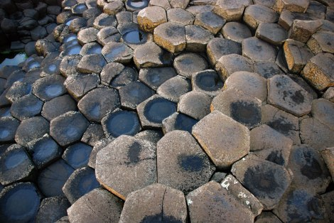 Hexagonal stones of Giant's Causeway in Northern Ireland, UK
