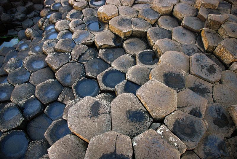 Hexagonal stones of Giant's Causeway in Northern Ireland, UK