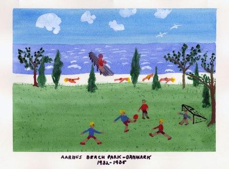 Dad's painting of Aarhus Beach in Denmark, 1932