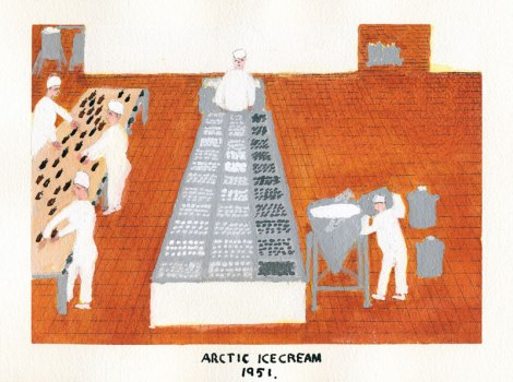 Dad's painting of Arctic Ice Cream in Vancouver, 1951