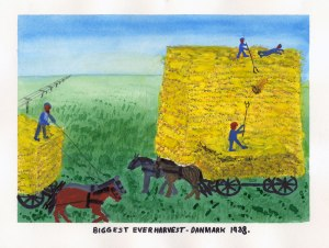 Dad's painting of the biggest harvest in Denmark, 1938