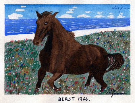 Dad's painting of the horse called Beast, 1943