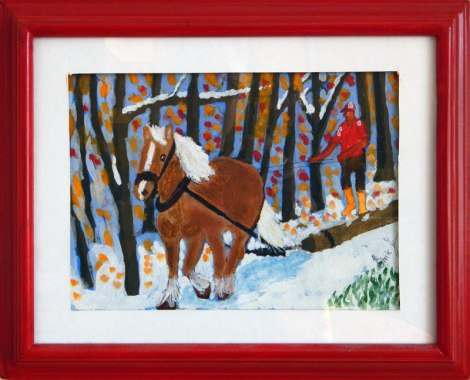 Dad's painting of a horse running through the snow