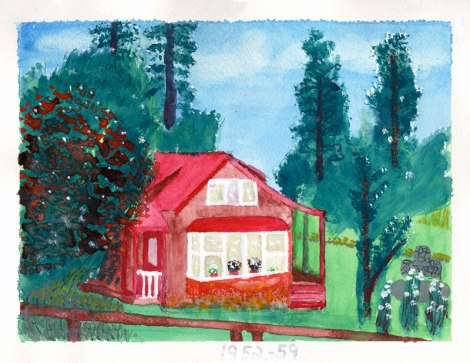 Dad's painting of the house in Chemainus BC, 1953 to 59