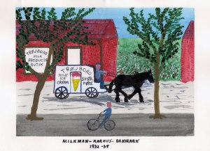 Dad's painting of a milkman and his horse in Denmark, 1932