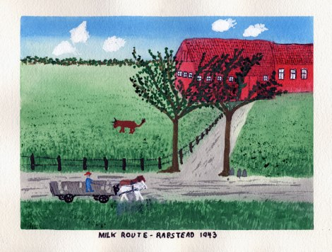 Dad's painting of a milkman and his horse on their route in Denmark,1943