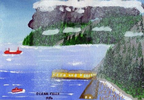Dad's painting of Ocean Falls in 1950