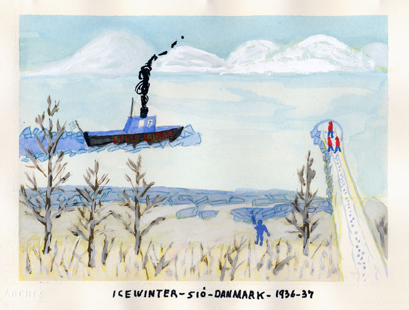 Dad's painting of the iced-over river by Sio farm in Denmark