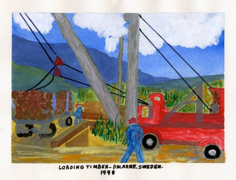 Dad's painting of cutting timber in Sweden, 1948