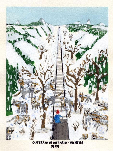 Dad's painting of a train trip through the wilds of Ontario, 1949