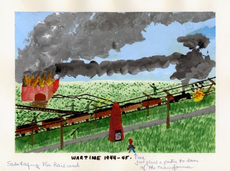 Dad's painting of wartime sabotage in Denmark,1944-45