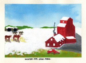 Dad's painting of winter on a Saskatchewan Farm, 1949