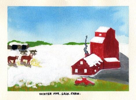 Dad's painting of winter on a Saskatchewan Farm, 1949